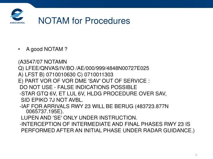 Notam for procedures1