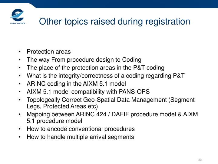 Other topics raised during registration