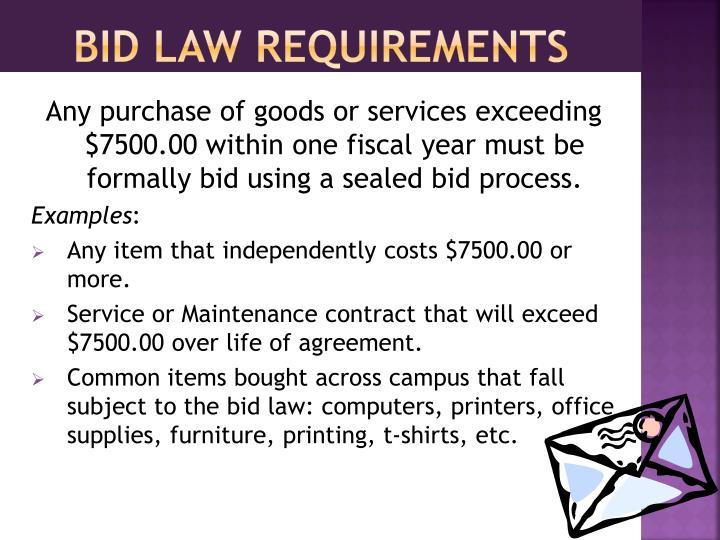 Bid law requirements