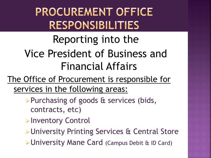 Procurement office responsibilities