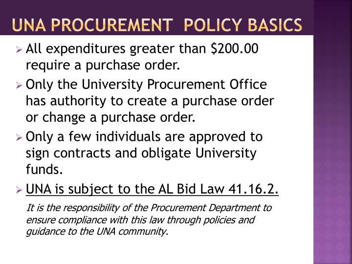 UNA Procurement  Policy Basics