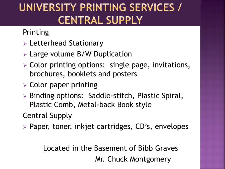 University printing services central supply