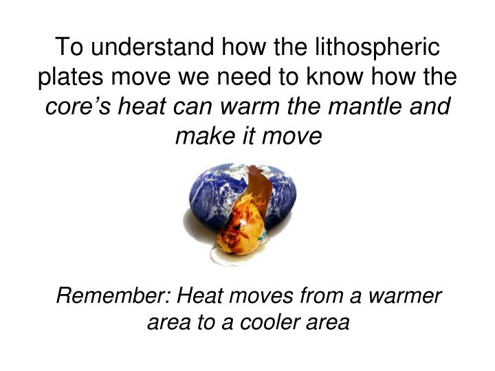 To understand how the lithospheric plates move we need to know how the