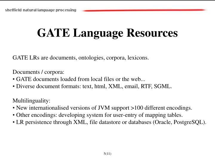 GATE Language Resources