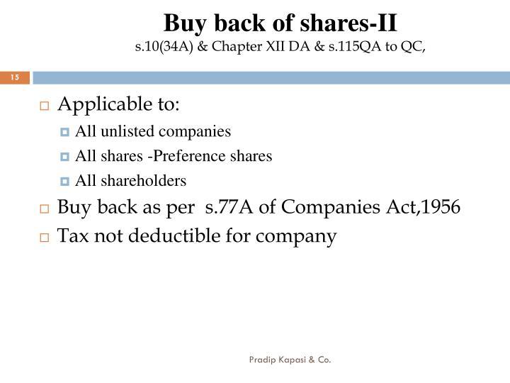 Buy back of shares-II