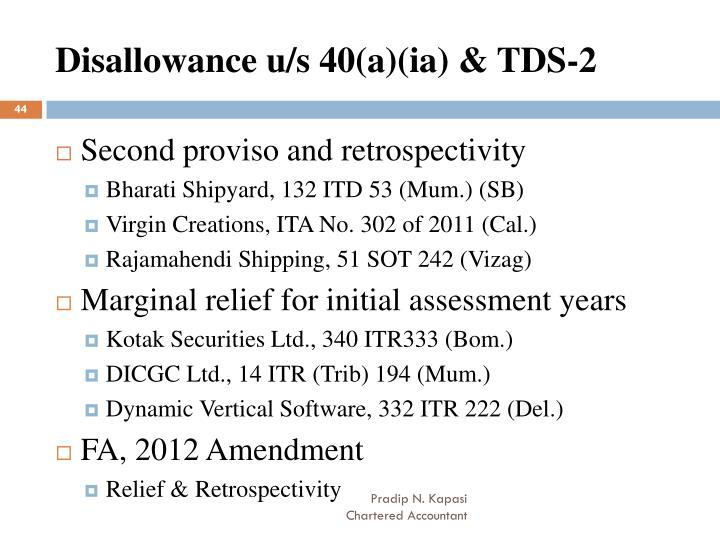 Disallowance u/s 40(a)(