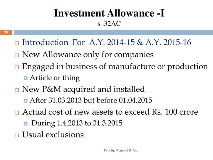 Investment Allowance -I
