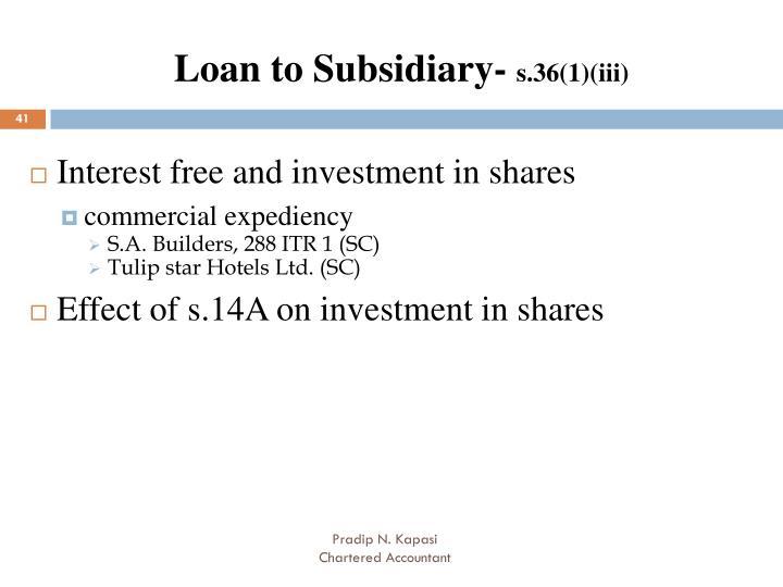 Loan to Subsidiary-