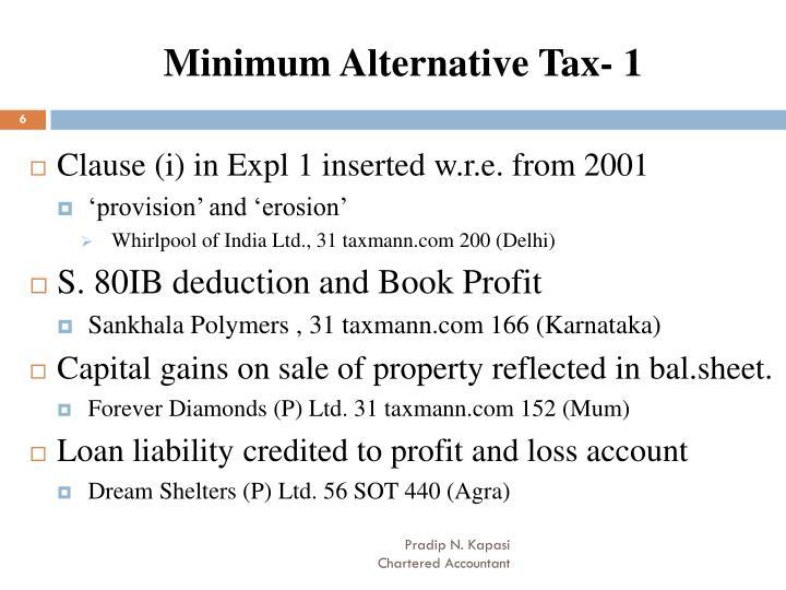 Minimum Alternative Tax- 1