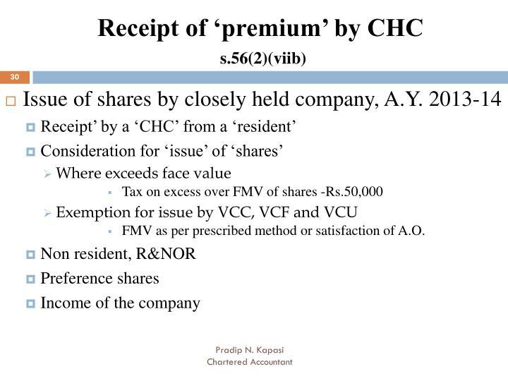 Receipt of 'premium' by CHC