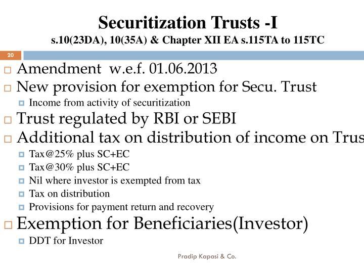 Securitization Trusts -I