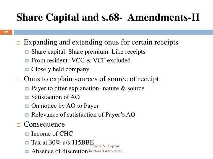 Share Capital and s.68-  Amendments-II