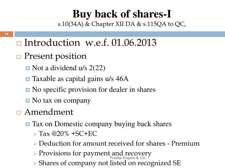 Buy back of shares-I