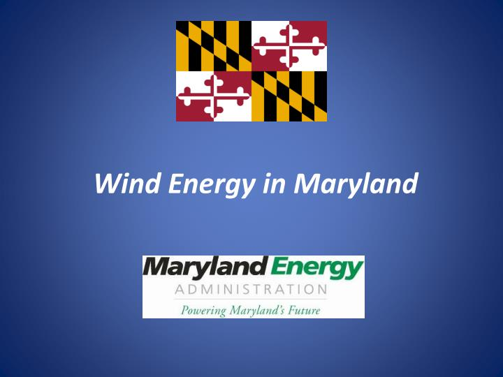 wind energy in maryland n.