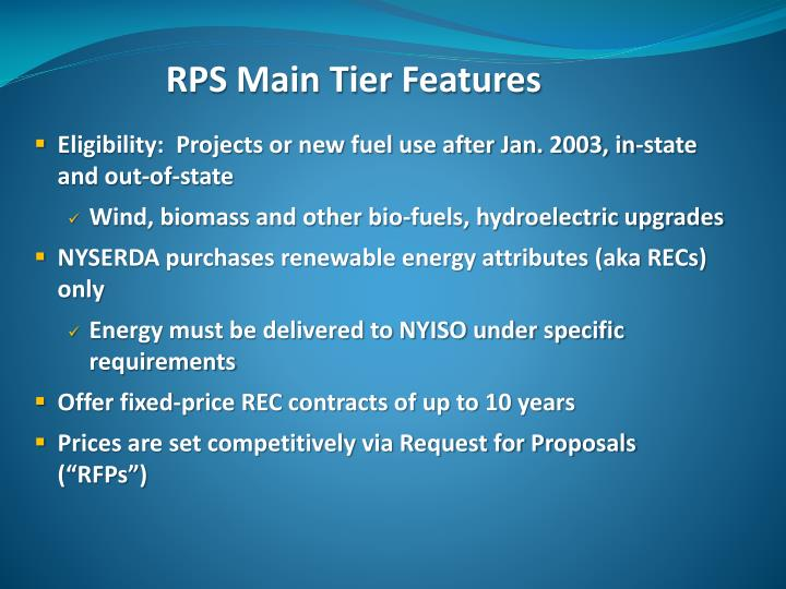 RPS Main Tier Features