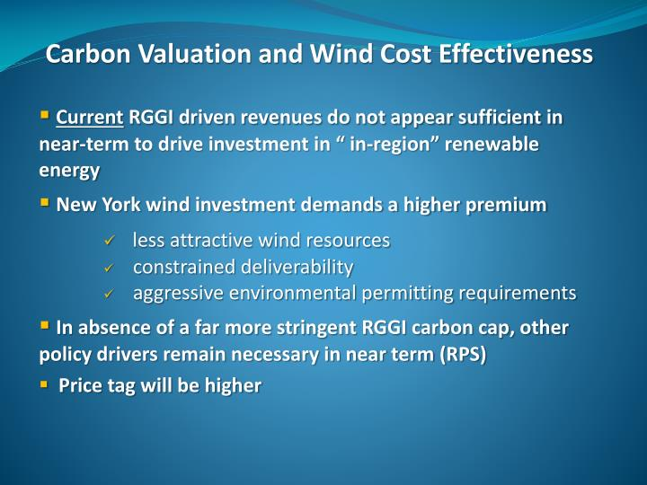 Carbon Valuation and Wind Cost Effectiveness