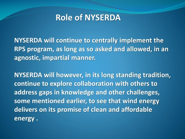 Role of NYSERDA