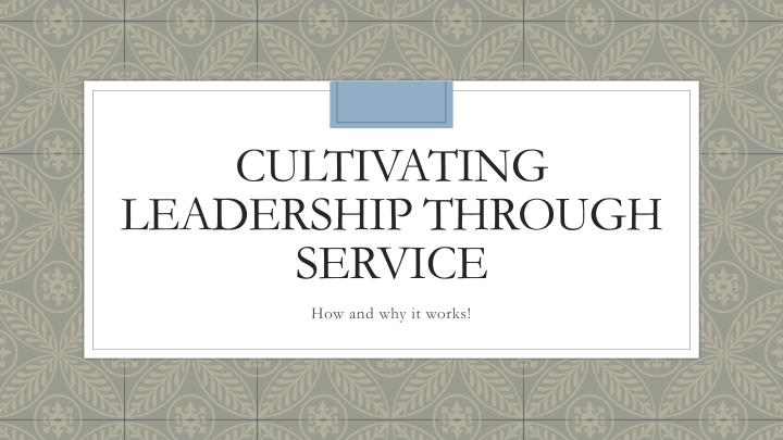 cultivating leadership through service n.