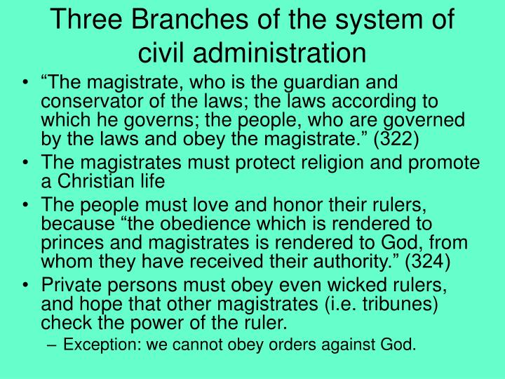 Three Branches of the system of civil administration