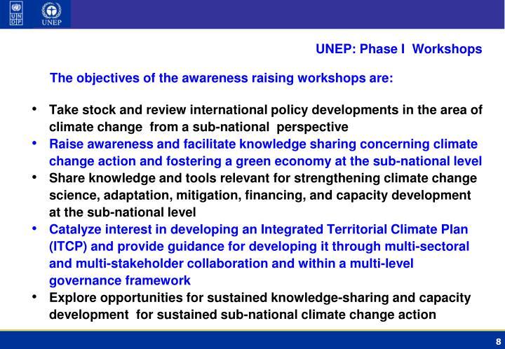 UNEP: Phase I  Workshops