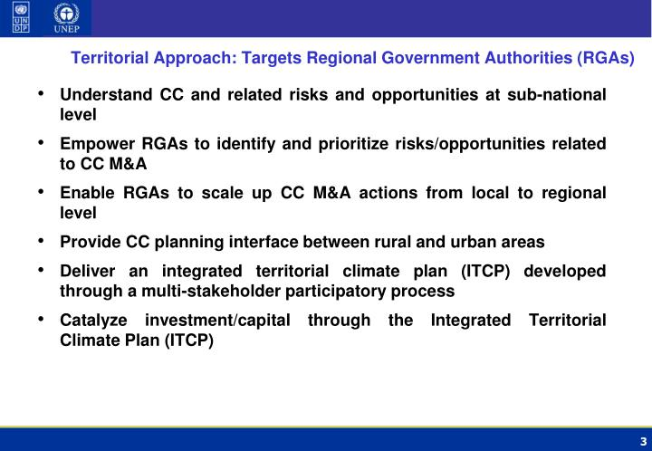 Territorial Approach: Targets Regional Government Authorities (RGAs)
