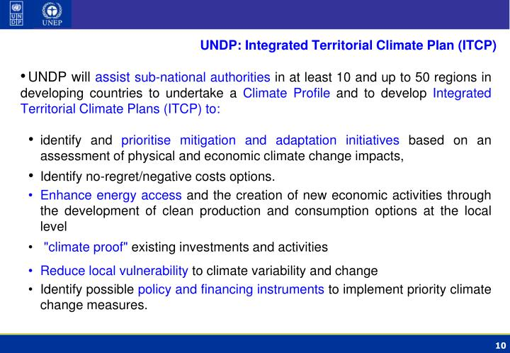 UNDP: Integrated Territorial Climate Plan (ITCP)