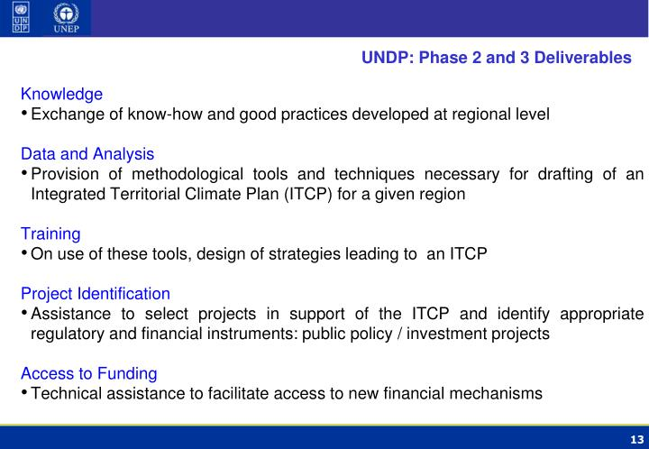 UNDP: Phase 2 and 3 Deliverables