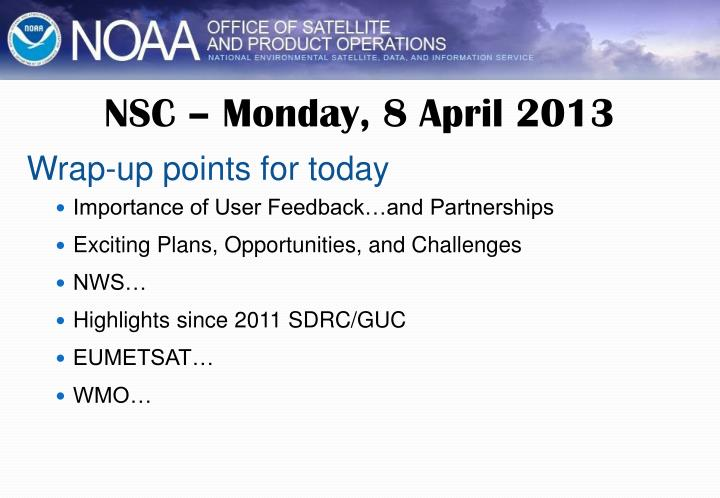NSC – Monday, 8 April 2013