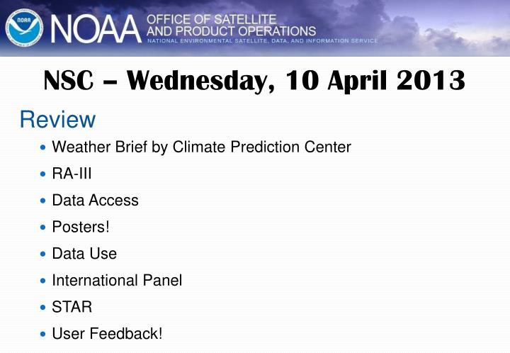 NSC – Wednesday, 10 April 2013