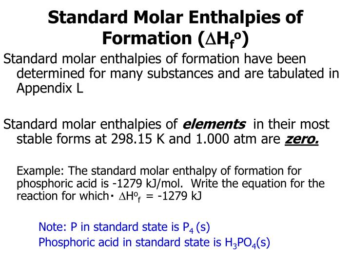 Standard Molar Enthalpies of Formation (