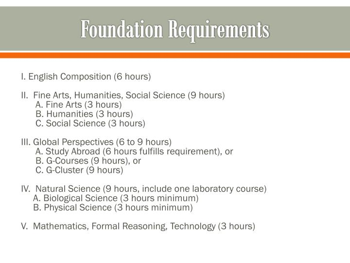 Foundation Requirements