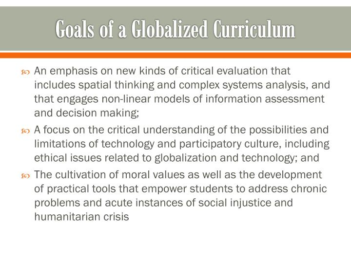 Goals of a Globalized Curriculum