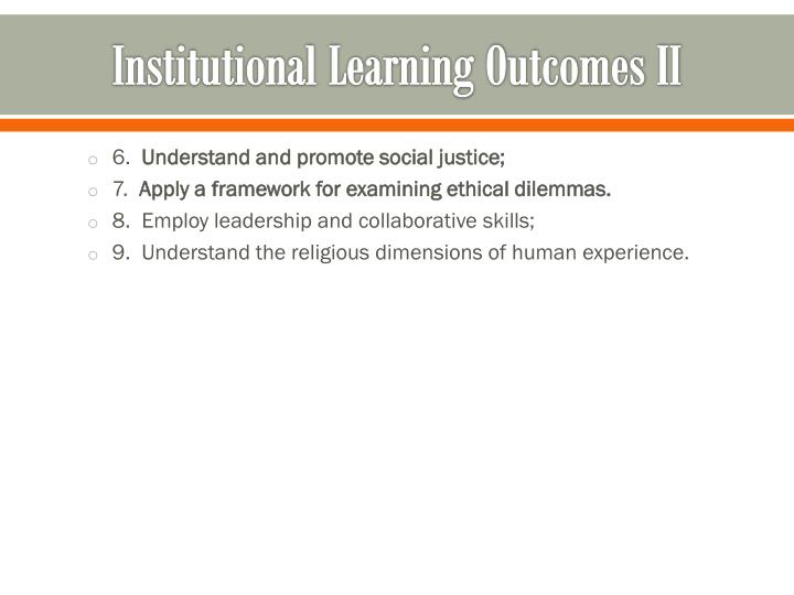 Institutional Learning Outcomes II