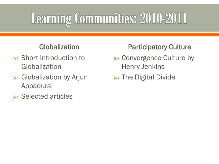 Learning Communities: 2010-2011