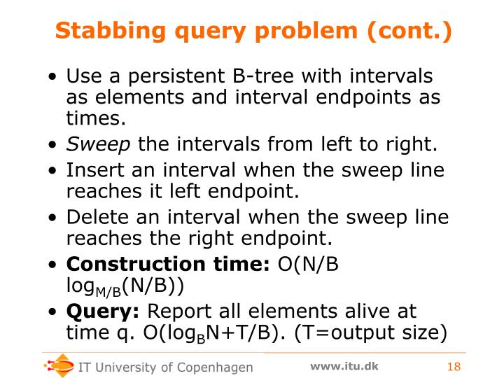 Stabbing query problem (cont.)