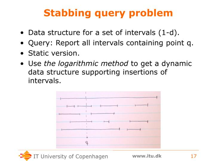 Stabbing query problem
