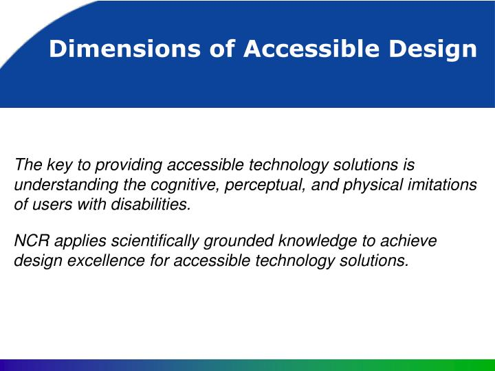 dimensions of accessible design n.