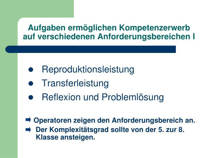 Aufgaben ermöglichen Kompetenzerwerb auf verschiedenen Anforderungsbereichen I