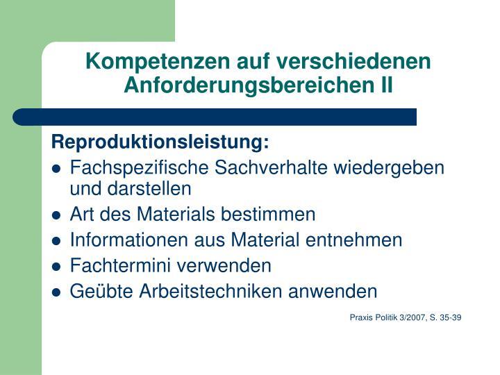 Kompetenzen auf verschiedenen Anforderungsbereichen II