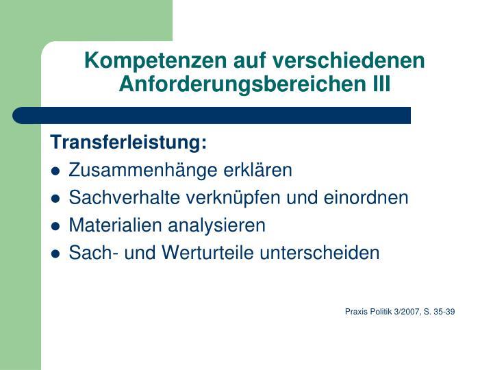 Kompetenzen auf verschiedenen Anforderungsbereichen III