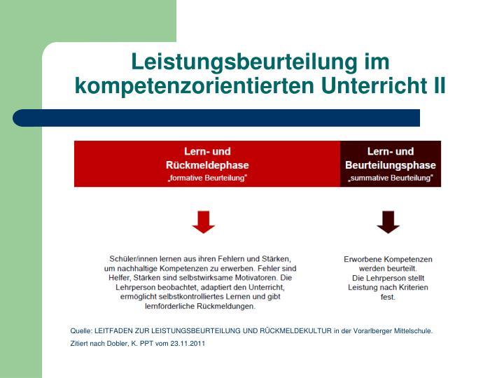 Leistungsbeurteilung im kompetenzorientierten Unterricht II