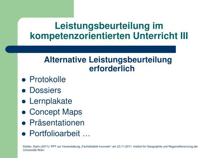 Leistungsbeurteilung im kompetenzorientierten Unterricht III