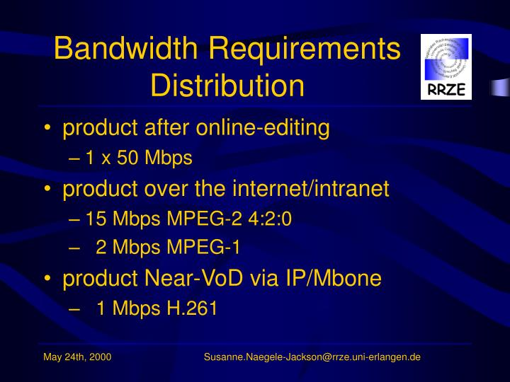 Bandwidth Requirements Distribution
