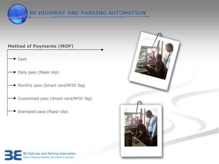 Method of Payments (MOP)