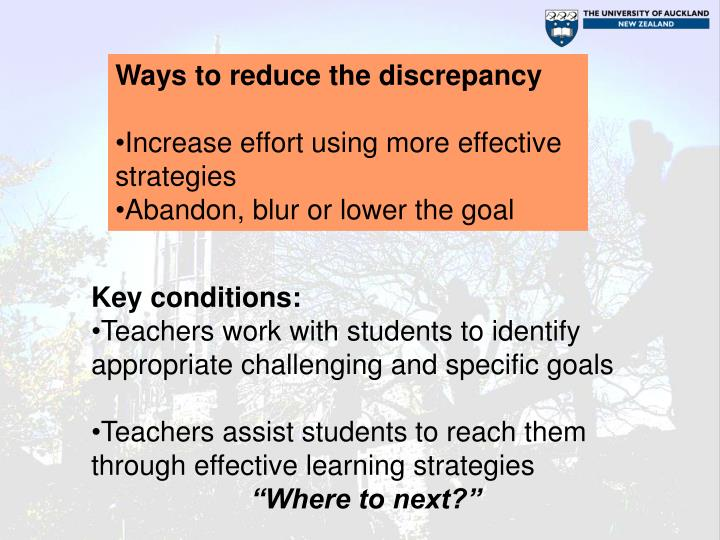 Ways to reduce the discrepancy