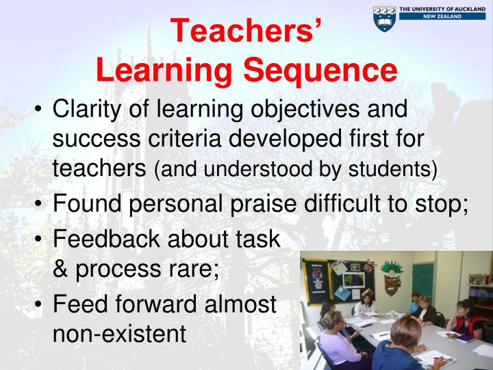 Teachers'                           Learning Sequence