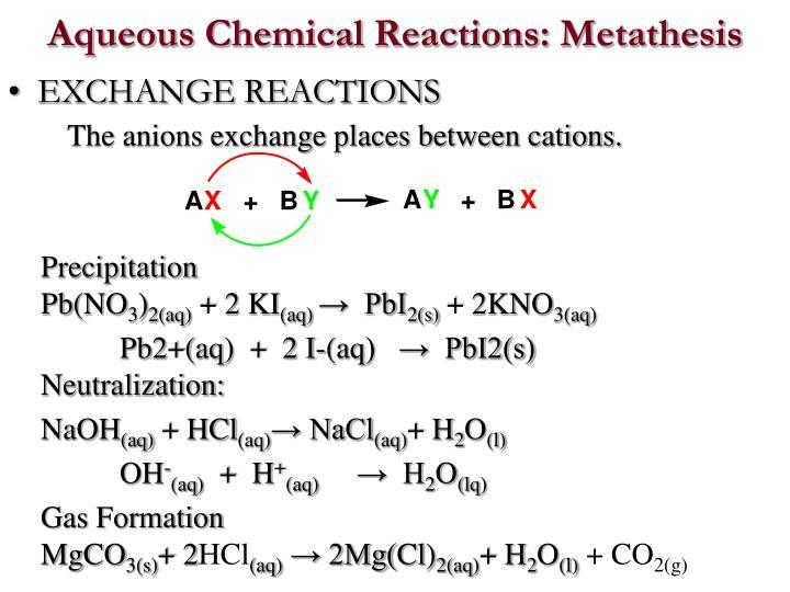 Aqueous Chemical Reactions: Metathesis
