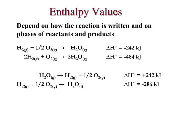 Enthalpy Values