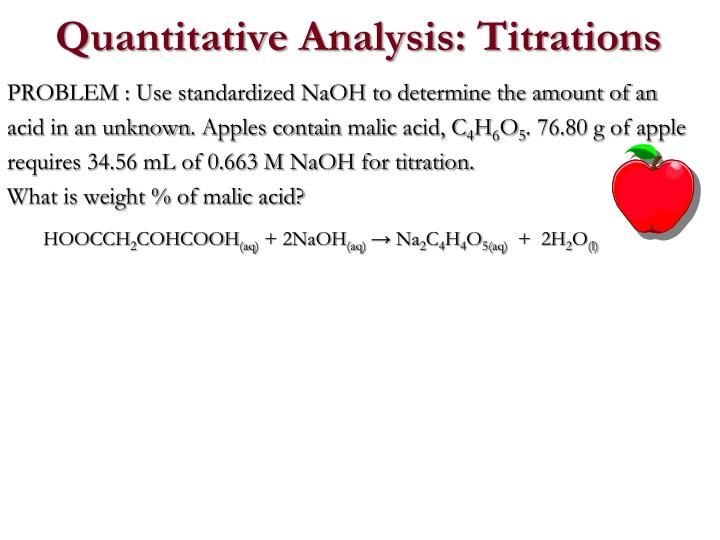 PROBLEM : Use standardized NaOH to determine the amount of an acid in an unknown