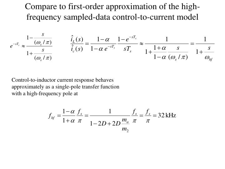 Compare to first-order approximation of the high-frequency sampled-data control-to-current model